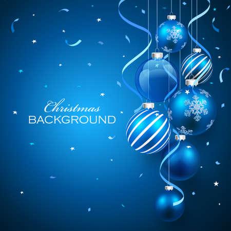 青色の背景でクリスマス ボール。ベクトル イラスト