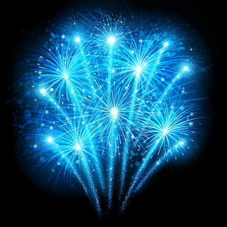 works: Holiday fireworks on dark background. Vector illustration