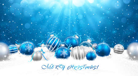 blau: Weihnachtsdekoration im Schnee.