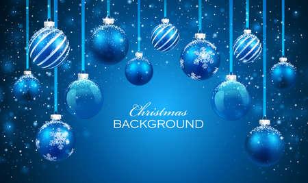happy christmas: Christmas balls on blue background. Illustration