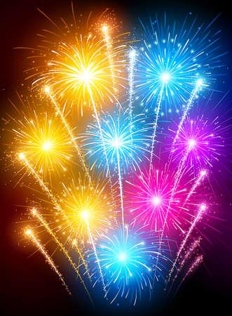 Colorful fireworks.  Illustration