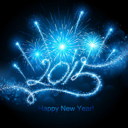 New Year fireworks 2015.  Vector