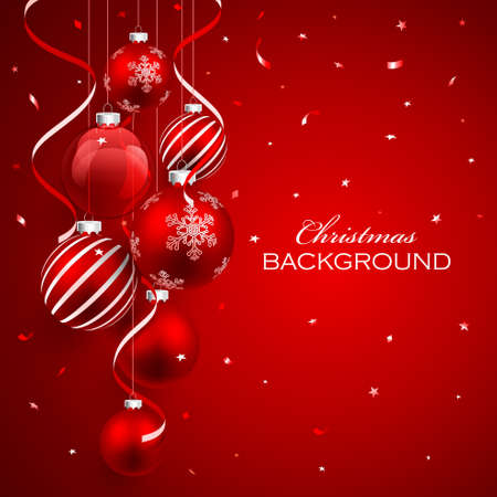 Christmas balls on red background and confetti. Vector illustration Stock Illustratie