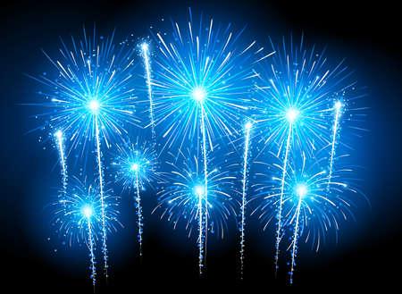 fireworks show: Holiday fireworks on dark background.