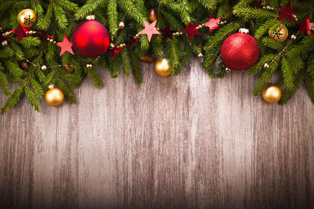 holiday: Christmas Decoration over wooden background