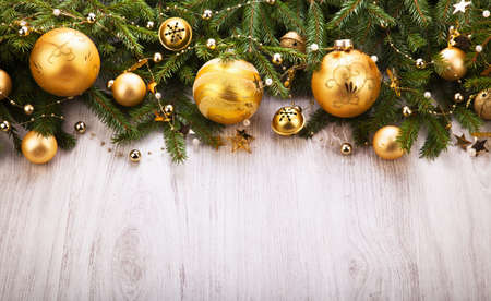 retro christmas: Christmas Decoration over wooden background