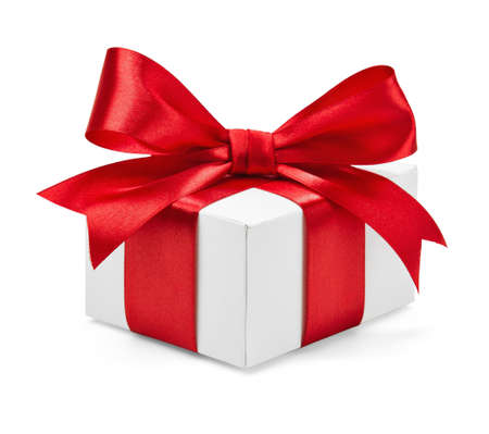 Gift box with red ribbon and bow isolated on white photo