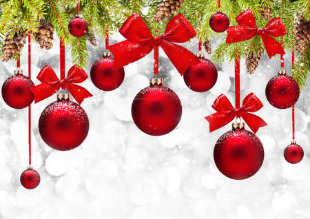 Christmas background with red balls and bows Stock Photo