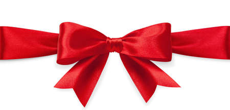 Red satin bow isolated on white background photo