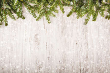 Spruce branches on light wooden background with snow