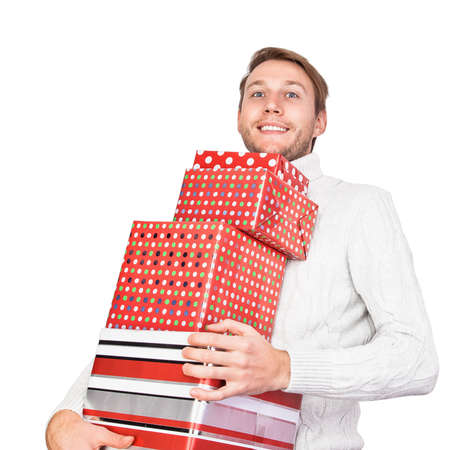 carries: Young man with gifts isolated on white