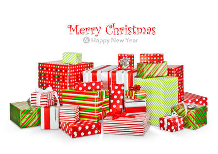 Christmas gifts in colorful boxes isolated on white background Stock Photo