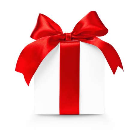 surprise gift: Gift box with red ribbon and bow isolated on white