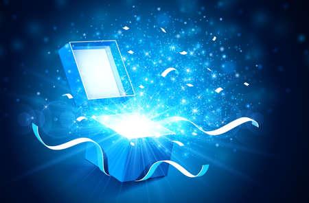 Öffnen Sie Geschenkkasten mit hellen Lichtstrahlen