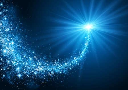 雪と明るい光のクリスマスの星を飛行