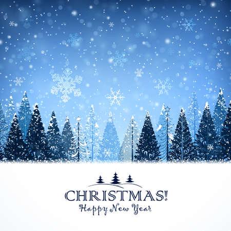 Fondo de Navidad con árboles y copos de nieve noche