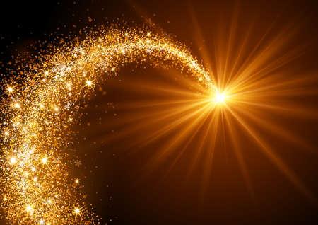 estrellas de navidad: Volar Estrella de Navidad con copos de nieve y la luz brillante Vectores