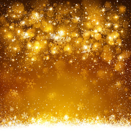 Christmas golden background with snowflakes and snow Vettoriali