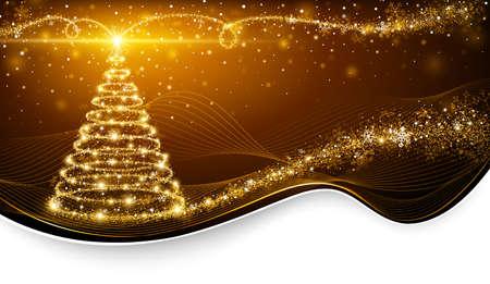 Weihnachten magischer Baum mit hellen Stern auf goldenem Hintergrund