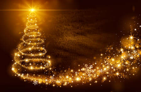 Christmas magic tree with bright star on golden background