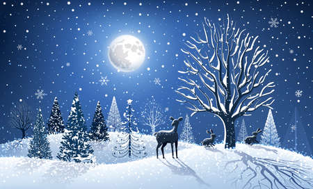 Christmas background with big tree and forest animals