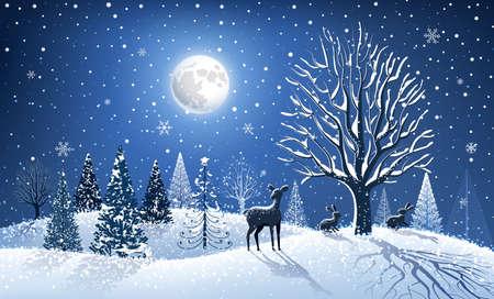 animales del bosque: De fondo de Navidad con el �rbol grande y los animales del bosque