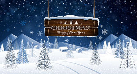 Winter Christmas landscape with wooden frame and congratulations