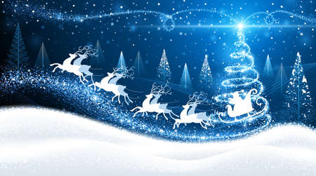 azul: Tarjeta de Navidad con renos y Santa en el fondo de árboles mágicos