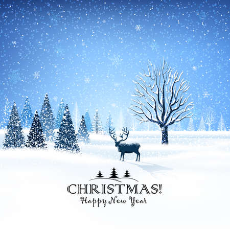 Christmas card with snowy trees and reindeer Vector