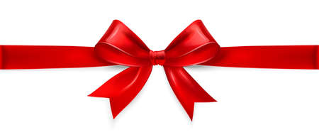 Red satin bow isolated on white background. Vector illustration Vettoriali