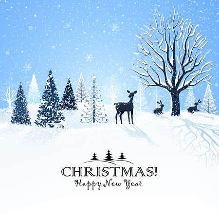 christmas snow: Christmas card with snowy trees and reindeer