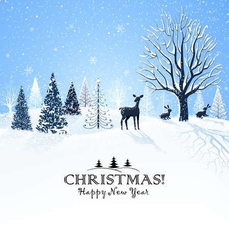 Weihnachtskarte mit schneebedeckten Bäumen und Rentiere Illustration