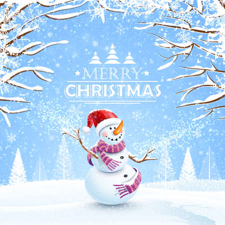 Christmas background with snowman and snowflakes.