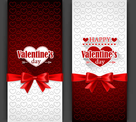 Valentines Day card with red bow. Vector illustration Vector