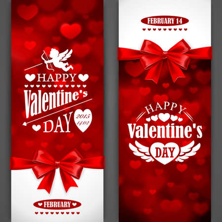 heart and wings: Valentines Day card with red bow. Vector illustration