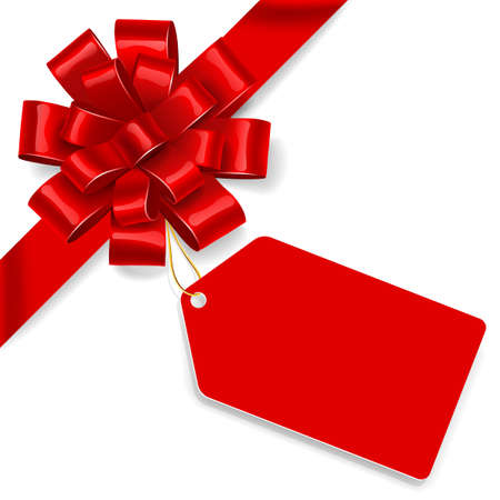 Red satin bow with tag isolated on white background. Vector illustration