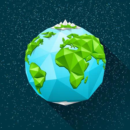 Planet: Planeta Tierra baja poli. Vector ilustración poligonal