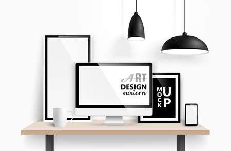 mock: Modern workspace design mock up background. Vector