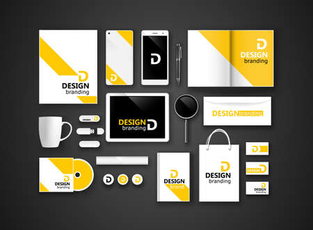 Set of corporate identity and branding on dark background. Vector illustration Vector