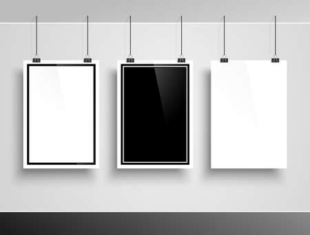poster designs: Gallery interior with three empty frames on white wall. Vector illustration