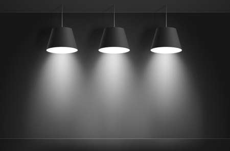 ceiling design: Gallery Interior with three black lamps.