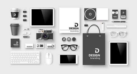 Conjunto de la identidad corporativa y de marca sobre fondo claro. Ilustración vectorial