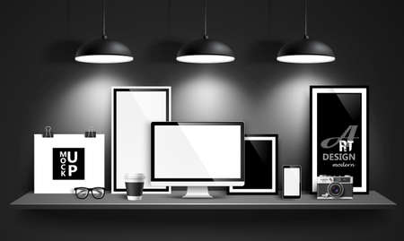 Modern workspace design mock up background. Vector