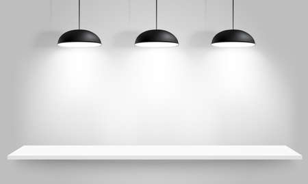 Gallery Interior with three black lamps. Vector illustration Vector