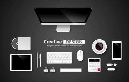 Creative Workspace, set of objects for business.