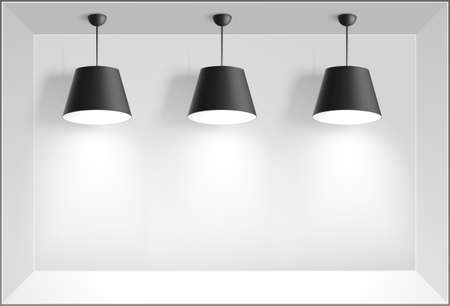 gallery interior: Gallery Interior with three black lamps. Vector illustration