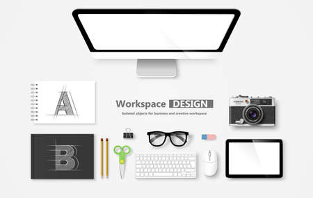 workspace: Creative Workspace, set of objects for business. Vector illustration Illustration