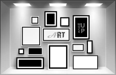 gallery interior: Gallery Interior with photo frames template. Vector illustration