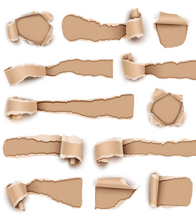 page corner curl: Collection torn paper isolated on white background. Vector illustration