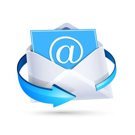 白で隔離の青い矢印で開いている電子メール手紙。ベクトル図